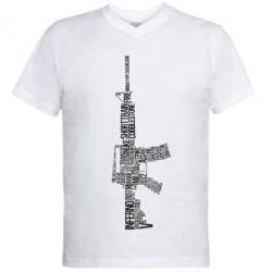 Мужская футболка  с V-образным вырезом Counter Strike M16 - FatLine