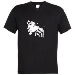 Мужская футболка  с V-образным вырезом Цой