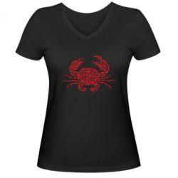 Жіноча футболка з V-подібним вирізом Crab from transport
