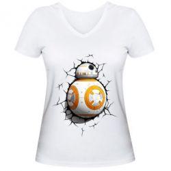 Женская футболка с V-образным вырезом Crack