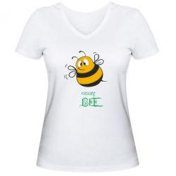 Женская футболка с V-образным вырезом Crazy Bee - FatLine