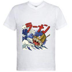Мужская футболка  с V-образным вырезом Crazy food