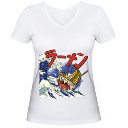 Женская футболка с V-образным вырезом Crazy food