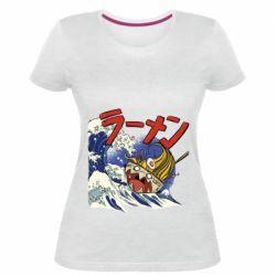 Женская стрейчевая футболка Crazy food