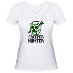 Женская футболка с V-образным вырезом Creeper Hunter