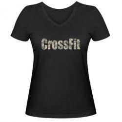 Женская футболка с V-образным вырезом CrossFit камуфляж - FatLine