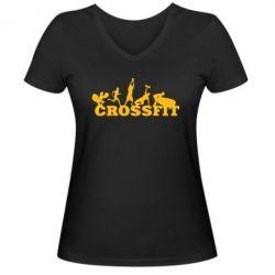 Женская футболка с V-образным вырезом Crossfit - FatLine