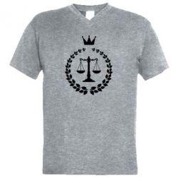 Купить Юристам, Мужская футболка с V-образным вырезом Crown for a lawyer, FatLine