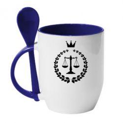 Кружка с керамической ложкой Crown for a lawyer