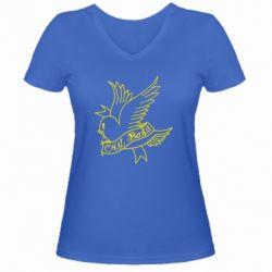 Жіноча футболка з V-подібним вирізом Cry Baby bird cries