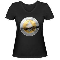 Женская футболка с V-образным вырезом Cryptomoneta