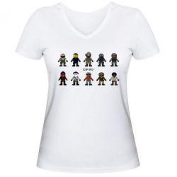 Женская футболка с V-образным вырезом CS GO Heroes
