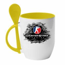 Кружка с керамической ложкой CS GO Ukraine black