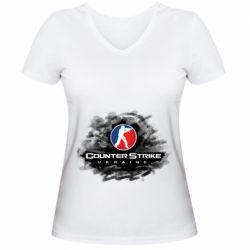 Женская футболка с V-образным вырезом CS GO Ukraine black