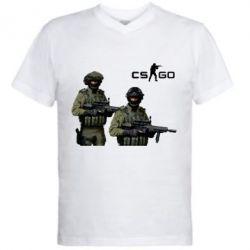 Мужская футболка  с V-образным вырезом CS GO - FatLine