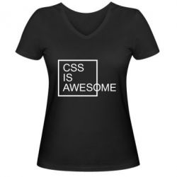 Жіноча футболка з V-подібним вирізом CSS is awesome