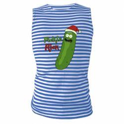 Майка-тельняшка Cucumber Rick in a Christmas hat