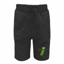Детские шорты Cucumber Rick in a Christmas hat