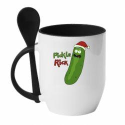 Кружка с керамической ложкой Cucumber Rick in a Christmas hat