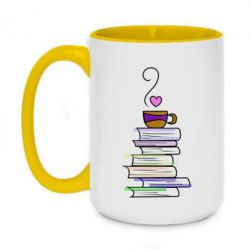 Кружка двоколірна 420ml Cup of tea and books