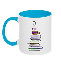 Кружка двоколірна 320ml Cup of tea and books