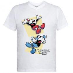 Чоловіча футболка з V-подібним вирізом Cuphead 1