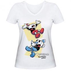 Жіноча футболка з V-подібним вирізом Cuphead 1