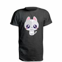 Подовжена футболка Cute cat with big eyes