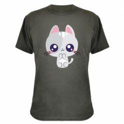Камуфляжна футболка Cute cat with big eyes