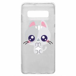 Чохол для Samsung S10+ Cute cat with big eyes