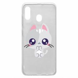 Чохол для Samsung A20 Cute cat with big eyes