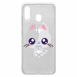 Чохол для Samsung A30 Cute cat with big eyes