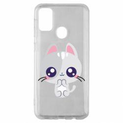 Чохол для Samsung M30s Cute cat with big eyes