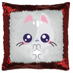 Подушка-хамелеон Cute cat with big eyes