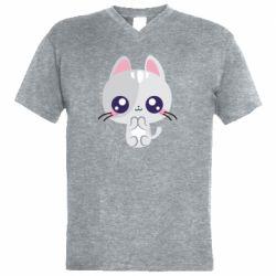 Чоловіча футболка з V-подібним вирізом Cute cat with big eyes
