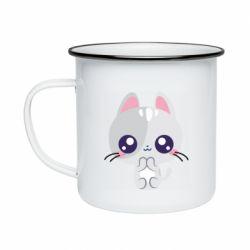 Кружка емальована Cute cat with big eyes
