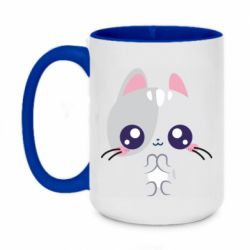 Кружка двоколірна 420ml Cute cat with big eyes