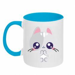 Кружка двоколірна 320ml Cute cat with big eyes