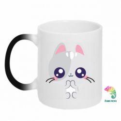 Кружка-хамелеон Cute cat with big eyes