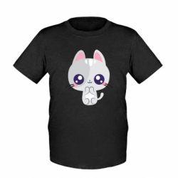 Дитяча футболка Cute cat with big eyes