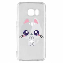 Чохол для Samsung S7 Cute cat with big eyes