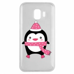 Чехол для Samsung J2 2018 Cute Christmas penguin