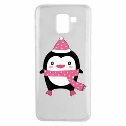 Чехол для Samsung J6 Cute Christmas penguin