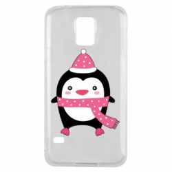 Чехол для Samsung S5 Cute Christmas penguin