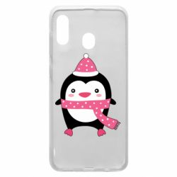 Чехол для Samsung A20 Cute Christmas penguin