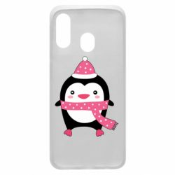 Чехол для Samsung A40 Cute Christmas penguin