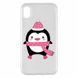 Чехол для iPhone X/Xs Cute Christmas penguin