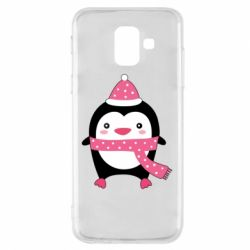 Чехол для Samsung A6 2018 Cute Christmas penguin