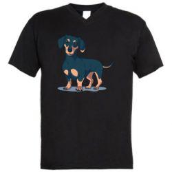 Мужская футболка  с V-образным вырезом Cute dachshund