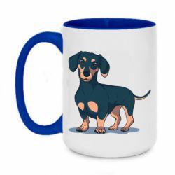 Кружка двухцветная 420ml Cute dachshund